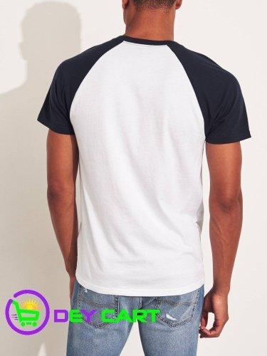 Hollister Raglan Logo T-Shirt - Navy & White 1