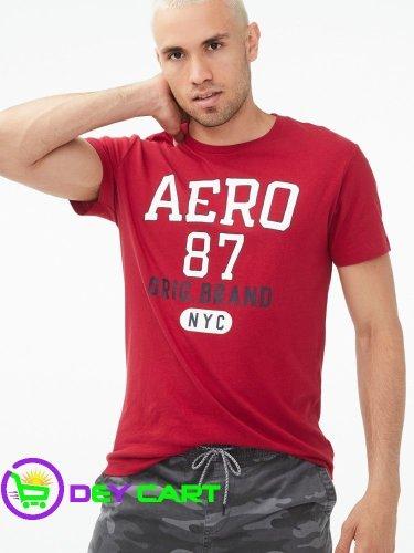 Aeropostale Original Brand Logo Graphic Tee - Cerise Red 0