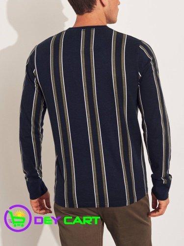 Hollister Stripe Logo Long Sleeve Graphic Tee – Navy/Multi