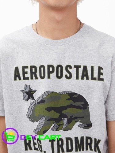 Aeropostale 3D Camo Bear Logo Graphic Tee - Heather Grey