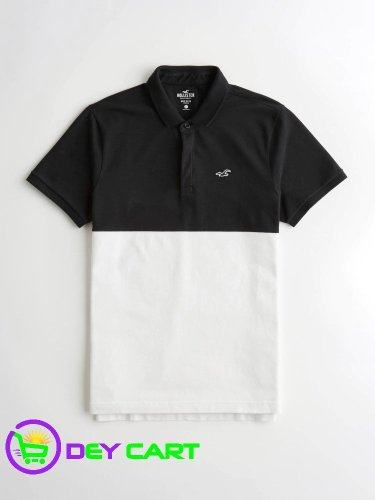 Hollister Shrunken-Collar Colorblock Polo - Black and White