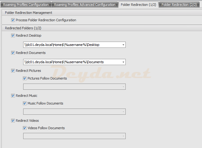 Policies and Profiles Microsoft USV Settings Folder Redirection