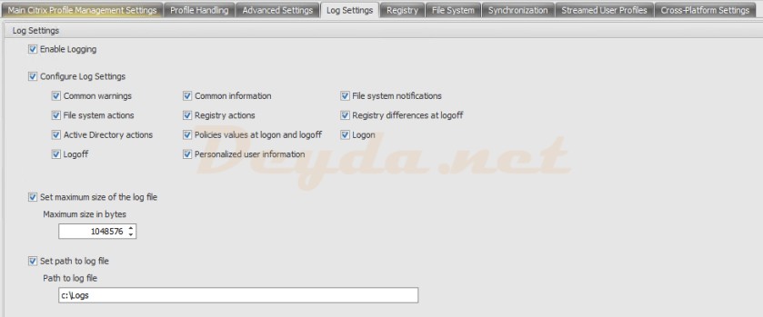 Policies and Profiles Citrix Profile Management Settings Log Settings