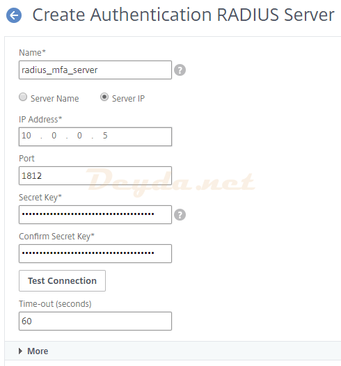 Create Authentication RADIUS Server