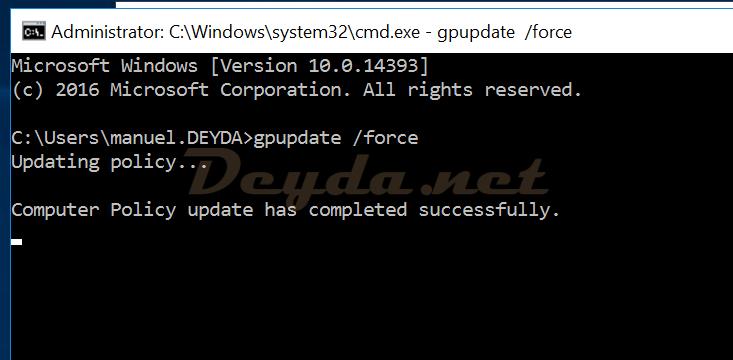 cmd gpupdate /force FAS