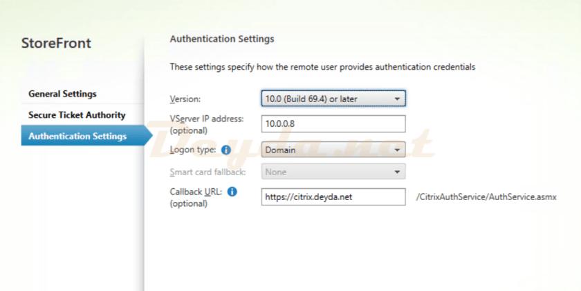 StoreFront Authentication Settings Callback URL