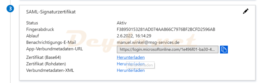 SAML Signing Certificate Certificate (Base64) Download