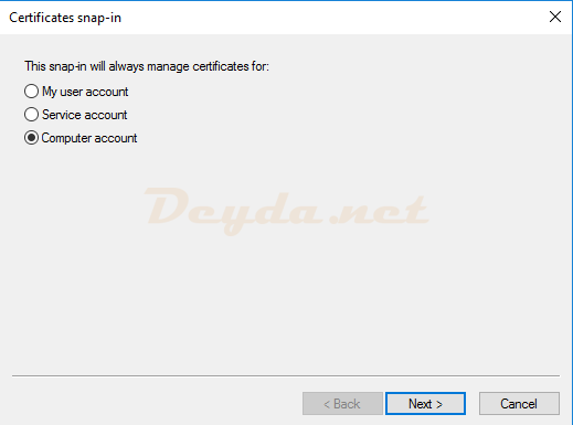 Certificates snap-in Computer account