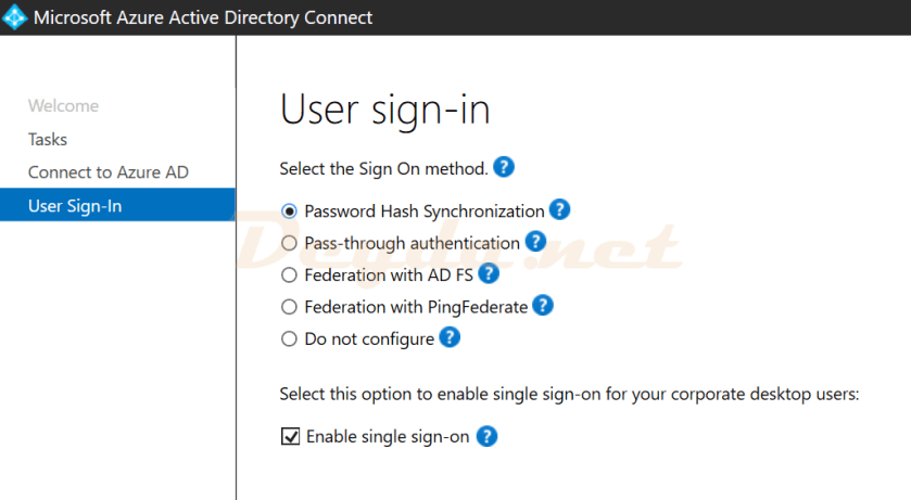 User sign-in Password Hash Synchronization