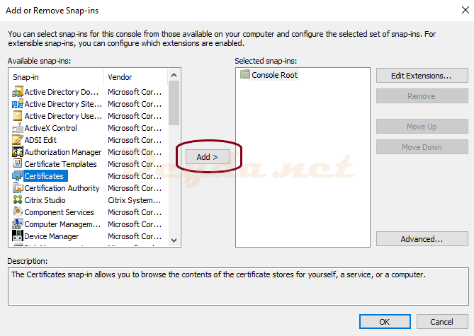 Add or Remove Snap-ins Certificates