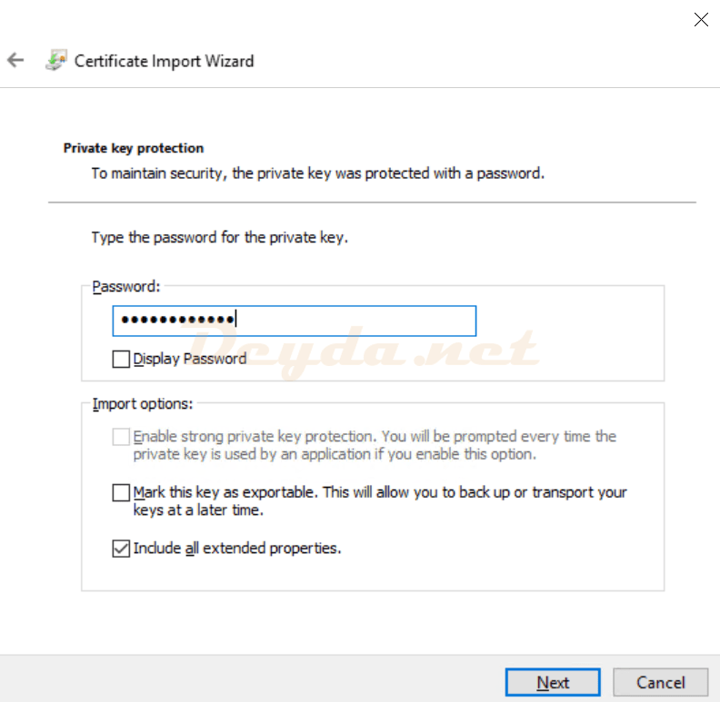 Private key protection Certificate Import Wizard Password