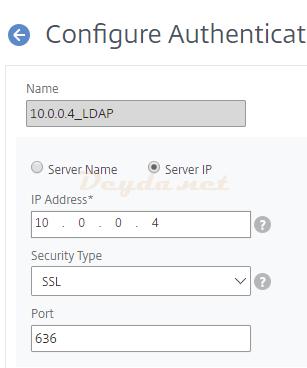 LDAPS SSL Security Type Port 636