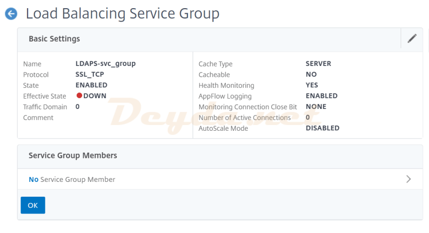 Load Balancing Service Group Basic Settings No Service Group Member