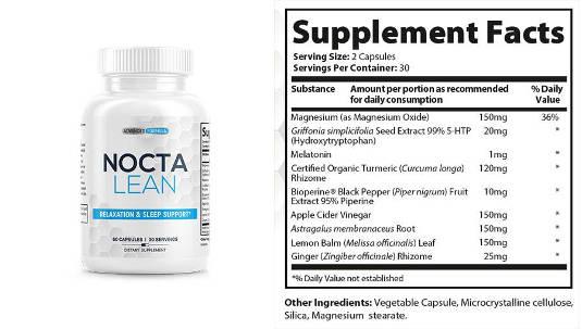 supplement facts-Noctalean Review