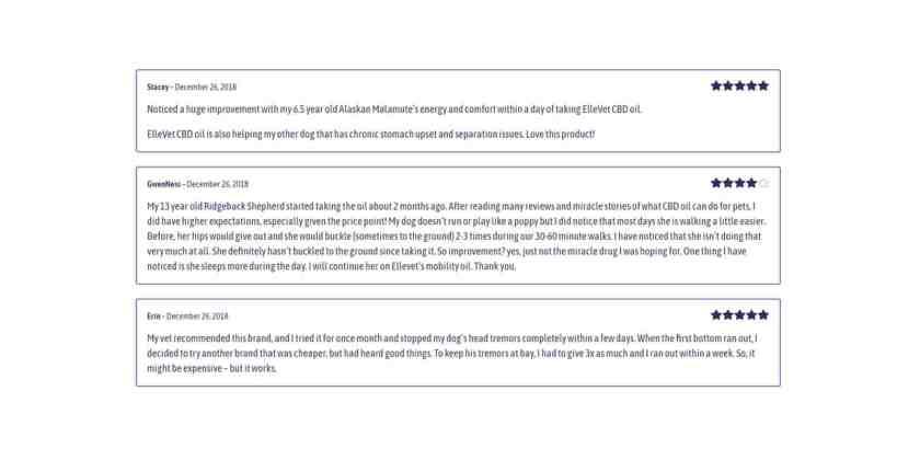ElleVet pet cbd customer reviews