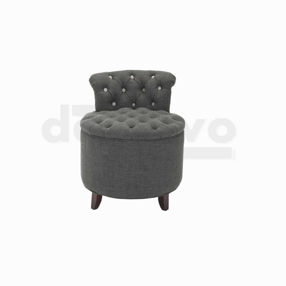 Tufted Stool (With small backrest)