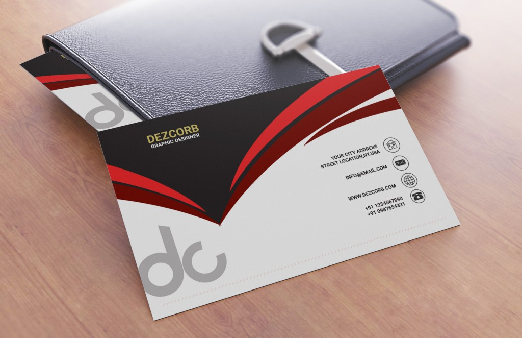 Business card tutorial psd free mockup dezcorb business card design in photoshop cs6 front red gray white reheart Images