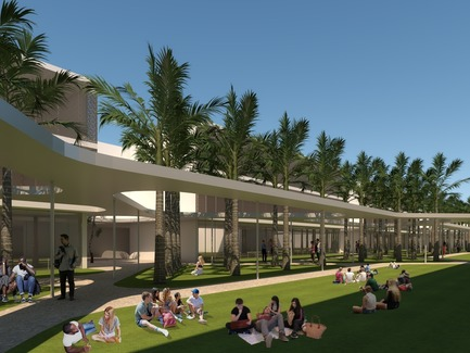 Press kit | 1204-07 - Press release | Pei Cobb Freed & Partners Unveils Transformative Design for IESB Brasilia - Pei Cobb Freed & Partners - Institutional Architecture - Linear canopy and campus green, with classroom buildings beyond - Photo credit: Pei Cobb Freed & Partners