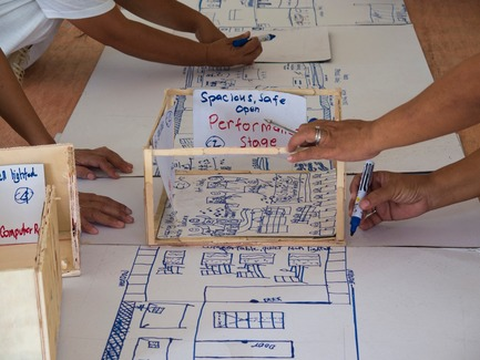 Press kit   3162-01 - Press release   Streetlight Tagpuro - Eriksson Furunes Architecture, Leandro V. Locsin Partners & Boase - Institutional Architecture -   Workshop with the community to translate the models into drawings.&nbsp; <br>  - Photo credit: Alexander Eriksson Furunes
