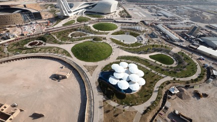 Press kit | 2404-02 - Press release | Oxygen Park, Education City, Doha - Qatar Foundation, AECOM - Institutional Architecture - Aerial Photo - Photo credit: MAN