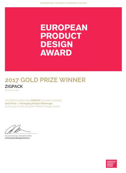 Press kit | 2455-01 - Press release | ZIGPACK - Xavier Bernis - Graphic Design - Photo credit: ePDA GOLD PRIZE WINNER