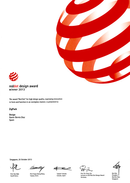 Press kit | 2455-01 - Press release | ZIGPACK - Xavier Bernis - Graphic Design - Photo credit: Red Dot design award winner