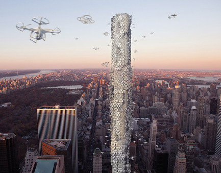 Press kit | 1127-05 - Press release | Winners 2016 Skyscraper Competition - eVolo Magazine - Competition - The Hive: Drone Skyscraper - Photo credit: Hadeel Ayed Mohammad, Yifeng Zhao, Chengda Zhu