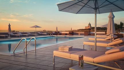 Press kit   2056-01 - Press release   Unveiling Of The Brand New Beaumont Condominiums Project - DevMcGill - Real Estate - The rooftop terrace is a veritable oasis with his heated pool and sun lungers. Splendor as far as the eye can see! - Photo credit: Sébastien Gaudard - Vizual 3D