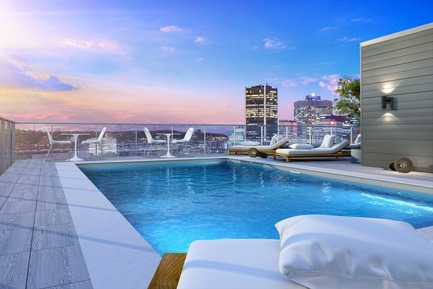 Press kit | 1867-05 - Press release | ENTICY, a new boutique condo project in downtown Montreal - Claridge-Omnia Technologies-Geiger Huot - Residential Architecture - Rooftop terrace - Photo credit: Enticy