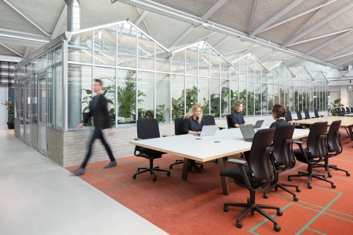 Press kit   4695-01 - Press release   Sustainable transformed office The Core wins two Frame Awards - Large Office of the Year - CBRE Netherlands - Commercial Interior Design - Workspace - Long tables facilitate working together in project teams. The greenhouses in the back are used as meeting rooms. - Photo credit: Stijnstijl Photography