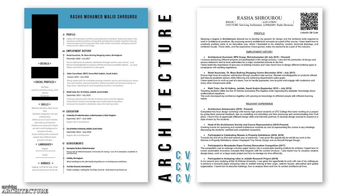 My Undergraduate Architecture Cv Resume Tips Dezign Ark
