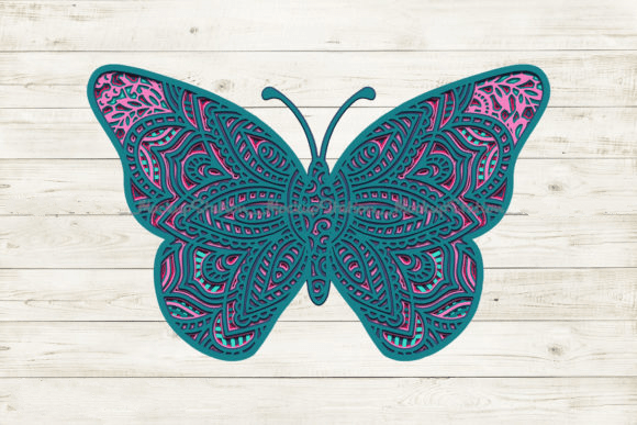Butterfly 3D Mandala SVG, Layered DXF Vector File