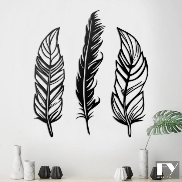 3 Feathers Metal Wall Art, Feathers Metal Wall Decor