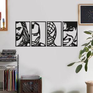 Avengers Face Portraits Wood Wall Art Set, Geometric Framed