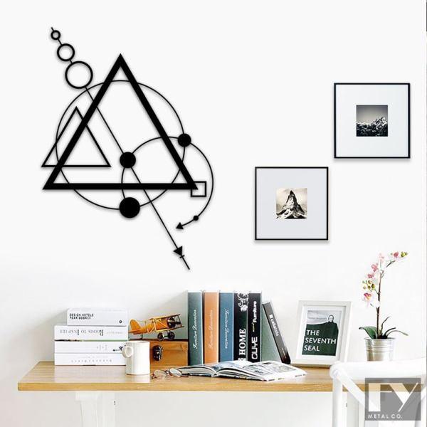 Geometric Triangles Metal Wall Decor, Modern Metal Wall Art