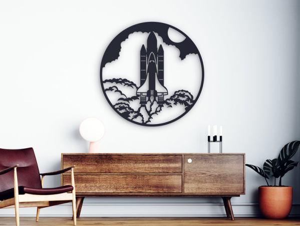 Rocket Metal Wall Art, Moon Metal Wall Decor, Space Home Decor