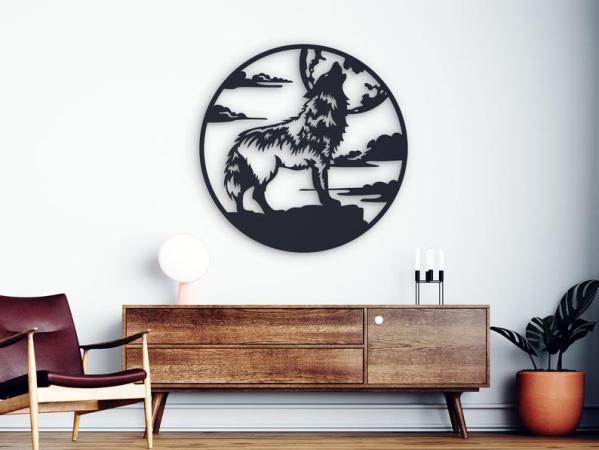 Wolf Metal Wall Art, Western Metal Wall Decor, Free Vector