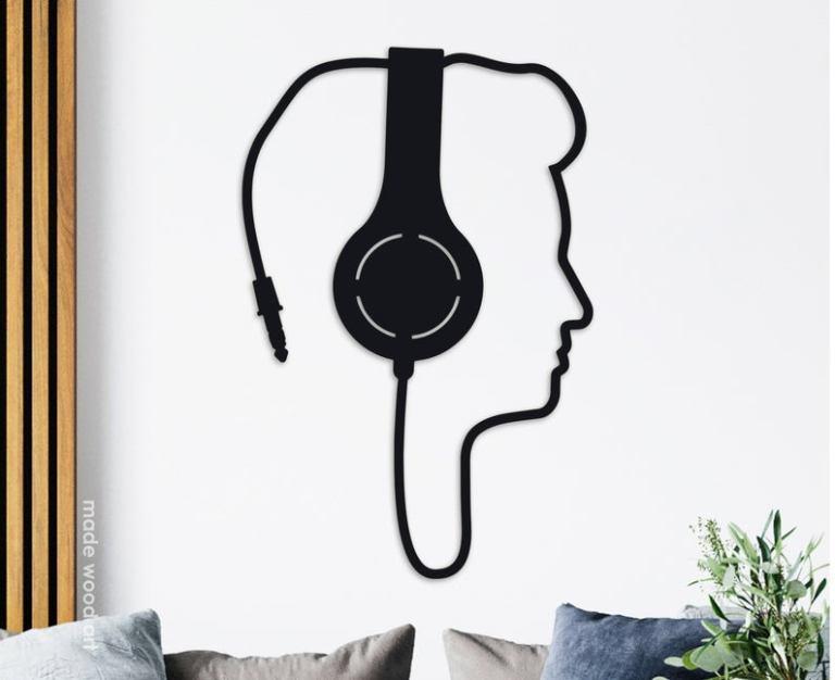 Headphones Wall Decor Wooden Wall Art Music Art Gift Dj Gift