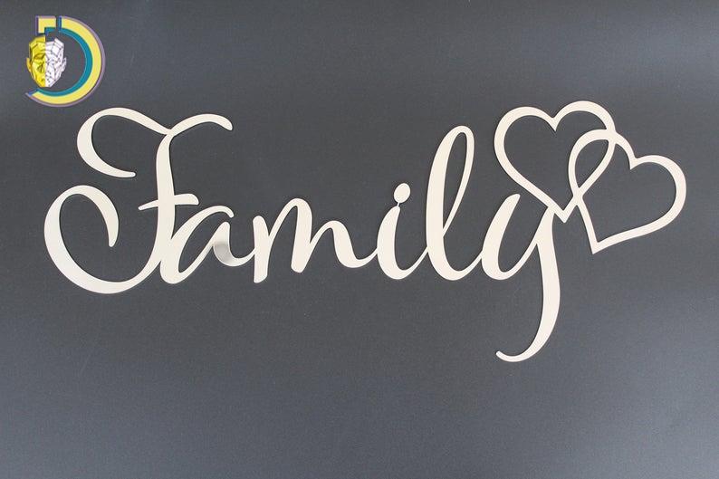 Laser Cut Family Hearts Wall Art Wall Decor Free Vector