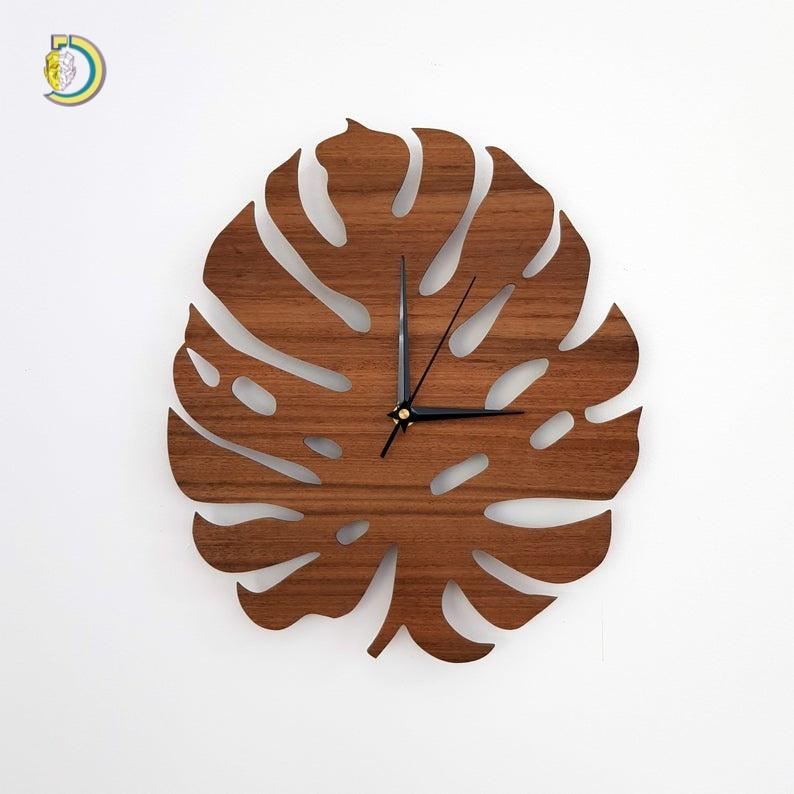 Laser Cut Monstera Clock Wall Clock CDR DXF Free Vector