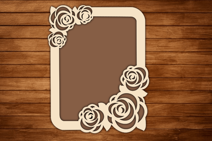 Laser Cut Photo Frame with Rose Pattern SVG, DXF Cut Files