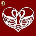 Laser Cut Swan in Heart Wedding Love Gift SVG Free Vector