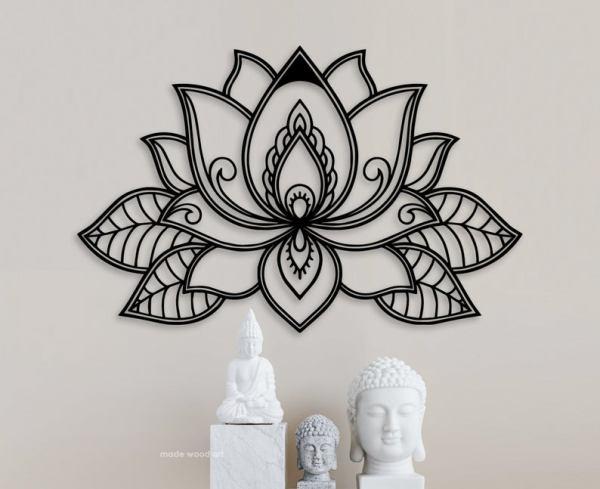 Lotus Flower Wooden Mandala Lotus Flower Wall Art Wood Wall Art