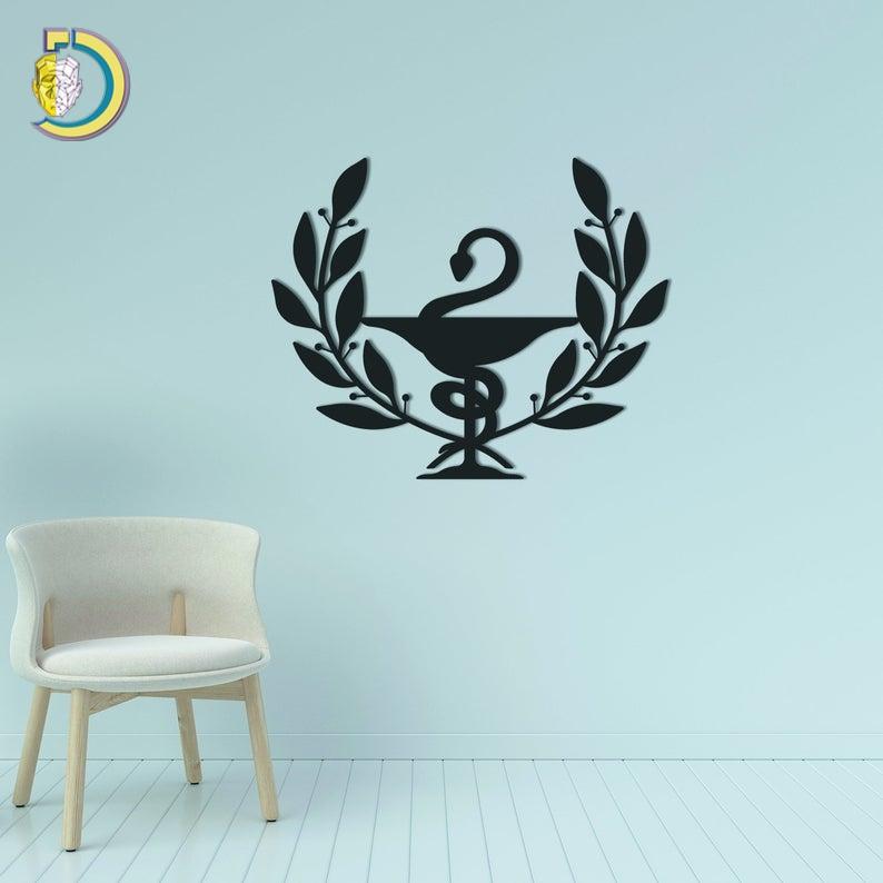 Metal Wall Art Bowl of Hygeia Design with Laurel Free Vector