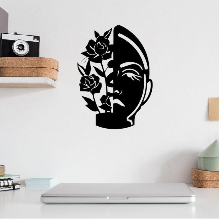 Rose And Face Metal Wall Art, Metal Wall Sign, Metal Wall Hangings