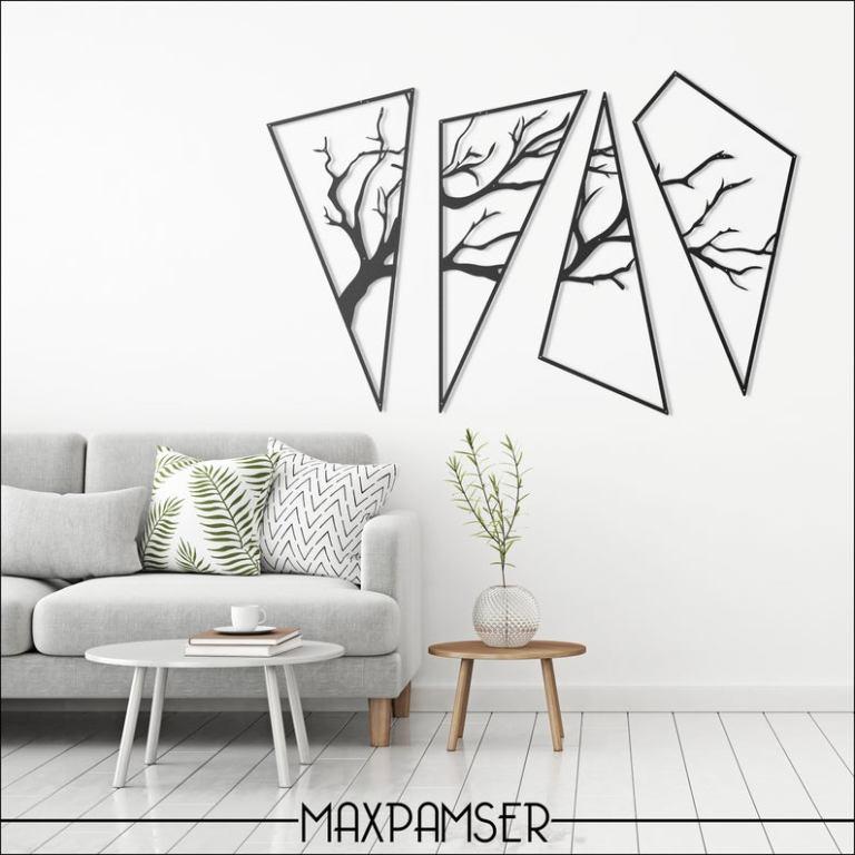 Set of 4 Asimetric Tree Themed Metal Wall Art