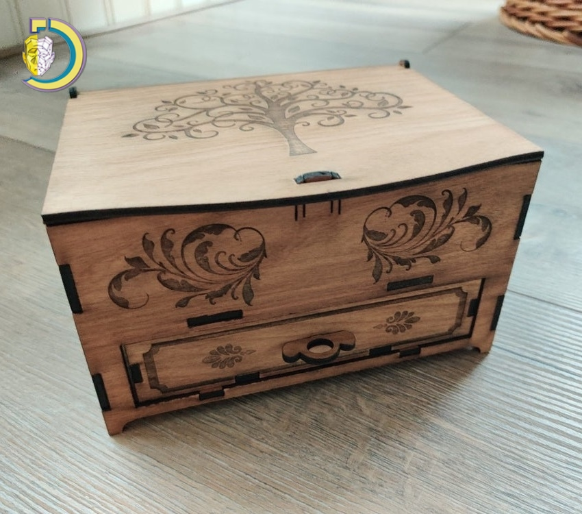 Laser Cut Jewelry Box With Drawer 3mm Free Vector