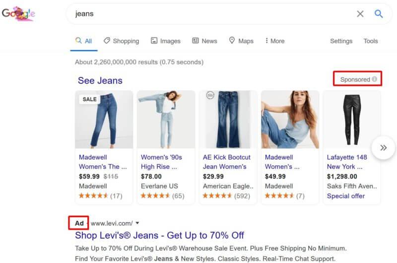 Google-desktop-serp-jeans-ad-labels-marked
