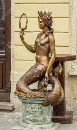 LVIV; UKRAINE - OCTOBER 13: Sculpture - Nympha Melusine on October 13, 2013 in Lviv, Ukraine.