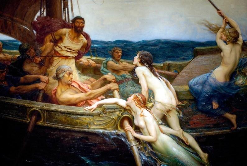 Ulise si sirenele, pictura de Herbert James Draper, sursa Wikipedia.